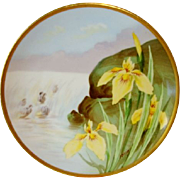 Beautiful Limoges Plate Hand Painted with Yellow Japanese Iris ~ Signed J. Barin ~ George Borgfeldt Coronet  / Limoges France  1906-1920