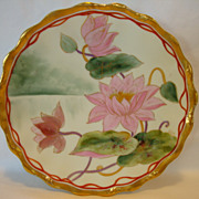 """Awesome Limoges Porcelain Plate ~ Hand Painted By Pickard Artist """"Harry E Michel"""" ~ Stylized Pink Regency Water Lilies ~ Tressemann & Vogt Limoges France 1892-1907"""