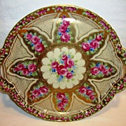"""Fantastic 12 ¼"""" W Porcelain Cake Plate / Tray ~ Red Roses Gold Moriage Beading ~ attributed to Nippon"""
