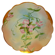 """Wonderful Bavarian Porcelain Cabinet Plate ~ Hand Painted by Pickard Artist """"Florence James"""" with Sweet Peas ~  Rosenthal Bavaria / Pickard Studio Chicago IL 1903-1905"""