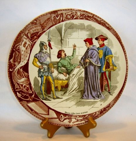 Great Sarreguemines France (Jeanne) Joan Of Arc In Prison Faience Plate / Plaque – Utzschneider & Co. Sarreguemines France 1900-1930