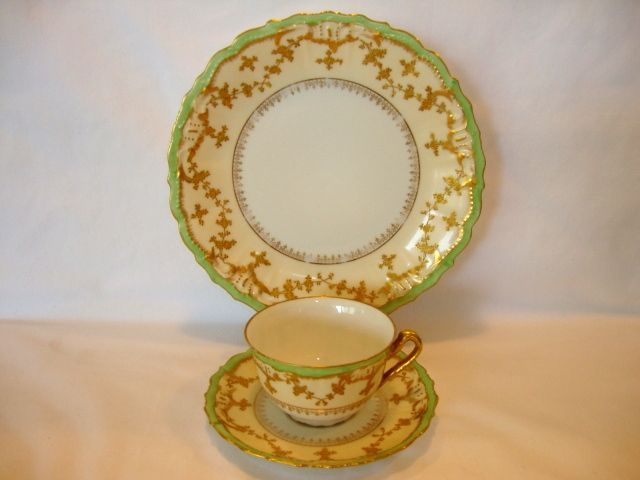 Elegant Limoges Porcelain Trio of Cup, Saucer & Plate ~ Hand Painted with Raised Gold & Sea Foam Green Edge~ Coiffe / Blakeman Henderson Limoges France 1890-1910