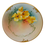 Bright & Beautiful Limoges Porcelain Plate ~ Hand Painted by Pickard Studios with Yellow Poppies ~Artist Deon ~ Delinieres & Co (D&C) Limoges France / Pickard Studios Chicago IL 1894-1910