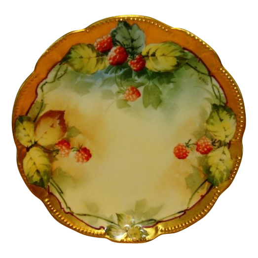 """Beautiful Limoges Plate Hand Painted with Ripe Red Raspberries by Pickard Studio Artist """"George Stahl"""" ~ A. KLINGENBERG & CHARLES L. DWENGER ( AKD  ) Limoges France  / Pickard Studios Chicago IL 1903-1905"""