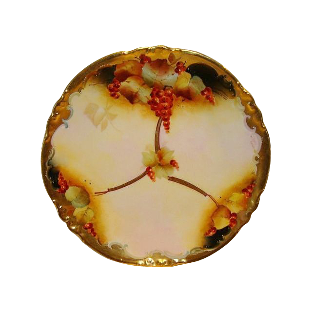 "Gorgeous Limoges Porcelain 8 ¾"" Plate ~ Pickard Studio Decorated with Red Currants ~ Signed M Rost Leroy ~ A. KLINGENBERG & CHARLES L. DWENGER (Limoges, France) - ca. 1890 - ca 1910s"