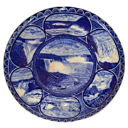 """Beautiful Vintage 10"""" Souvenir of Niagara Falls Plate ~  Earthenware flow blue ~R&M CO The Rowland & Marsellus Co. Staffordshire England 1893-1938 for CA Miller"""