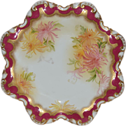 SALE Wonderful Star Shaped Porcelain Plate with Hand Painted Mums ~ George Jones  & Sons Engla
