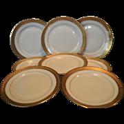 "Set of 8 – 6 1/8"" Bread & Butter / Horderves Plates ~ Gold Encrusted Edge,Gold Rings, Ivory Background  ~Pattern Premier #2445 ~ Rosenthal  Bavaria for Ovington's Chicago / New York 1920 +"