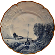 Gorgeous Porcelain Cabinet Plate ~ Farm house and Boat Scene ~ Delft-Sanssouci by ROSENTHAL German 1900's