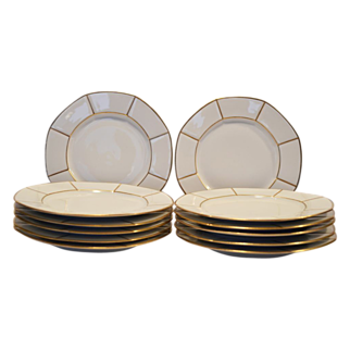 """SALE 12 Gorgeous 8 ¾""""  Limoges Porcelain Dinner / Salad Plate Set ~ White with Gold Spokes ~ Jean Pouyat Limoges France for Wells-Burrage Co Boston"""