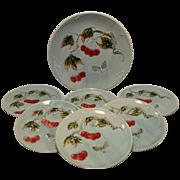 SALE 7 Piece Dessert / Salad Majolica Plate & Platter Set ~ Red Cherries & Butterflies ~. G S