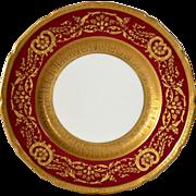 SALE Elegant English China Cabinet Plate ~ Deep Red with Gold ~ Royal Doulton  Burlsem England