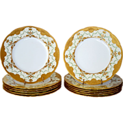 "Set of 12 Minton 10 1/4"" Dinner Plates ~ Exquisitely  Decorated with  Gold & Enamel Paste ~ Mintons Stoke on Trent, Staffordshire England, circa 1890-1920  for Davis Collamore Fifth Ave New York"