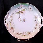 Open Handled Austrian Porcelain Cake Plate Decorated White Poppies ~ MZ Austria (Moritz Zdekauer) 1884-1909