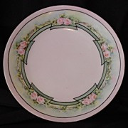 Wonderful Plate ~Art Nouveau ~Limoges Porcelain ~ Hand Painted with Delicate Pink Roses ~ Artist Signed ~ T&V Tressemann & Vogt ~1892 -1907
