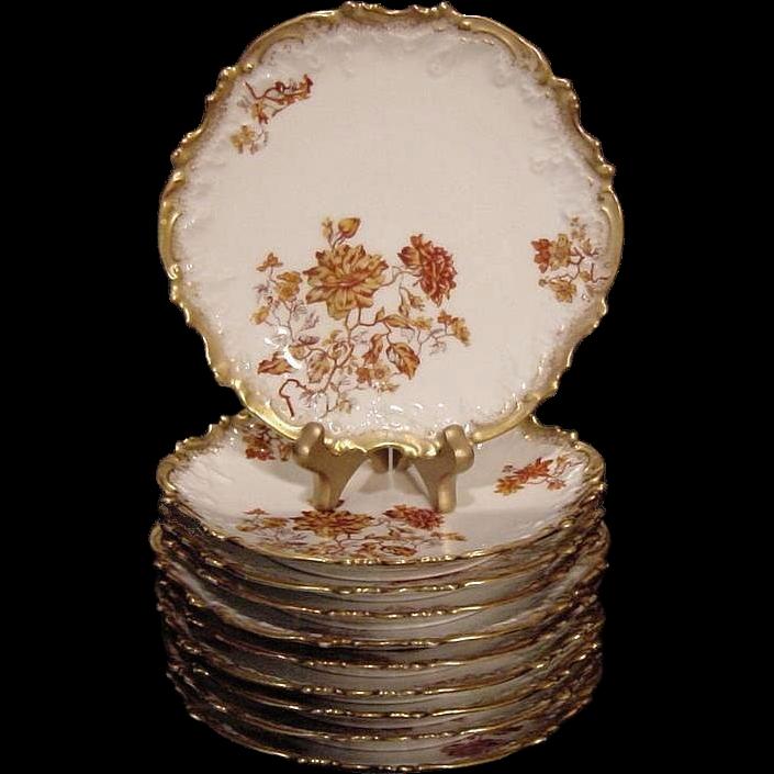 Set of (10) Limoges Porcelain Luncheon Plates ~ Rococo Rim ~ Rust & Burnt Orange Colored Flowers ~ Coiffe / Elite. ca.:1891-1900