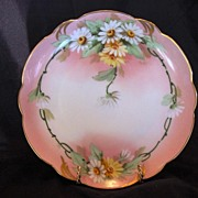 """Charming Pickard Studio Decorated ~ Bavarian Porcelain Cabinet Plate ~ Hand Painted with Yellow and White Daisies ~ Signed by """"Fredrick Walters' ~ Rosenthal / Pickard 1905-1910"""