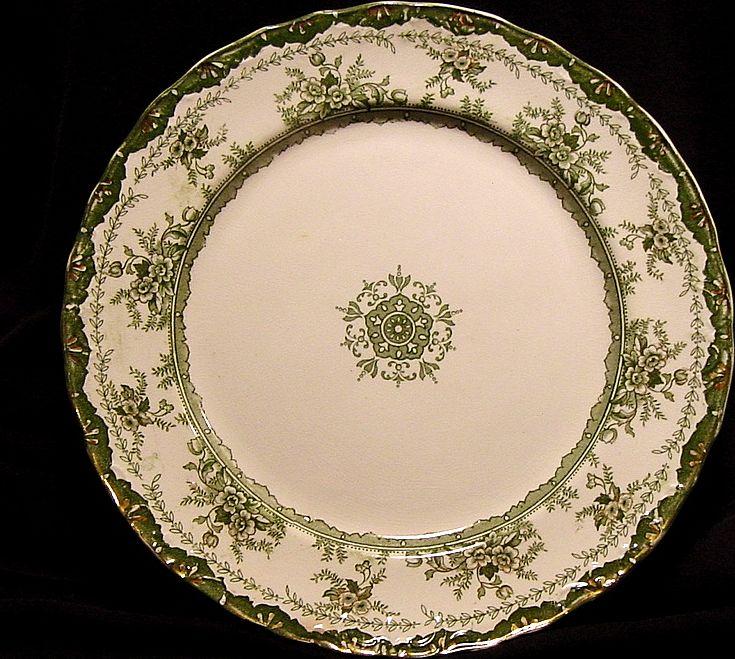 "Exquisite Old Green Transferware English ~""Alexandria"" Pattern~ Dunn & Bennett ~ 1875-1907"