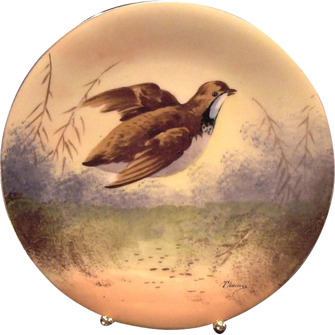 Handsome Limoges Porcelain Game Plate ~ Hand Painted With a Quail in Flight ~ Artist Signed ~ Charles Martin 1891-1900