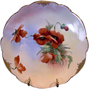 """Vibrant ~ Porcelain Cabinet Plate ~ Pickard Studio Decorated,Mark 4 ca.-1905. Vibrant Orange Poppies ~ By Artist """"Florence James"""""""