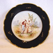 Gorgeous Porcelain Portrait Plate with a Courting Scene ~ Cobalt Blue & Gold Rim ~ Limoges France