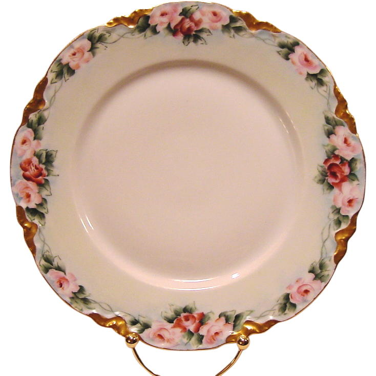 Gorgeous Porcelain Bavarian Cabinet Plate ~ Hand Painted with Pink & Mauve Roses ~ Racine Pattern ~ Hutschenreuther 1900+