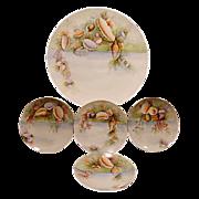 "SALE Extraordinary  5 Piece Set of Bavarian Porcelain ~ 13"" Platter & 4 Matching Plates ~ Ha"