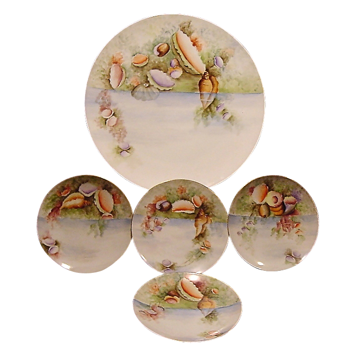 """Extraordinary  5 Piece Set of Bavarian Porcelain ~ 13"""" Platter & 4 Matching Plates ~ Hand Painted with Sea / Ocean Life ~ Thomas Bavaria ~ 1908-1940"""