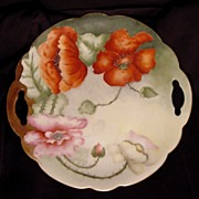 Poppy Lovers Delight! Austrian Porcelain Two Handled Cake Plate ~ Hand Painted with Orange & Pink Poppies ~ Artist Signed ~  Crown Vienna Austria 1890-1908