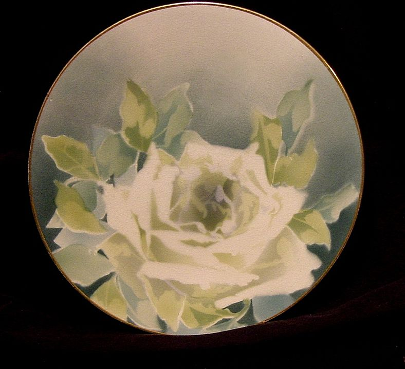 Illuminating French Majolica Cabinet Plate with a White Rose ~ KELLER & GUERIN - ERNEST BUSSIERE (Nancy, France) - ca. 1890s - 1930s
