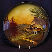 """Extraordinary 12"""" German Black Forest Majolica hand painted Charger / Wall Plaque ~ Mountain Chalet Scene ~ CICO Germany /  or Schramberger 1900's"""