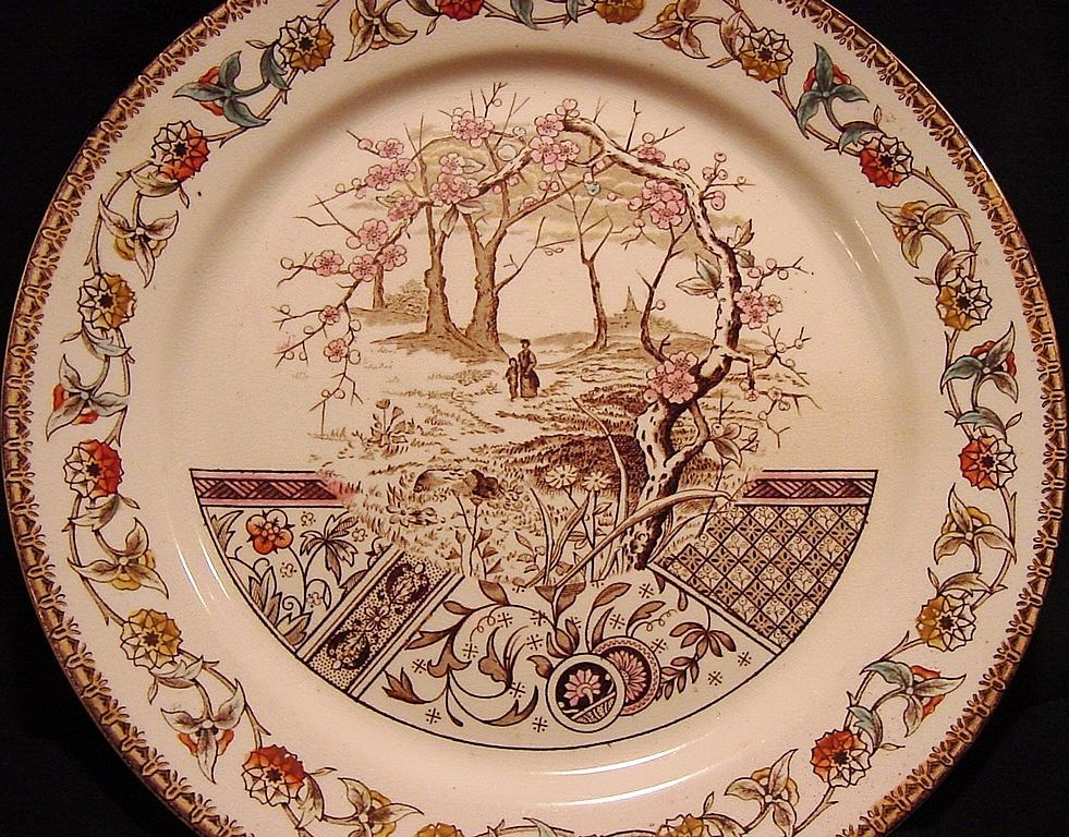 """Awesome English Earthenware Plate with Polychrome Transfer ~ """"Yosemite"""" Pattern ~ T R Boote  1/13/1883"""
