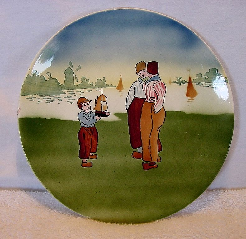 Nice Majolica Prussian Cabinet Plate or Plaque of a Dutch Scene ~ W ST Prussia