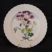 SALE Beautiful 128 Year Old English Cabinet Plate Burgundy and Pink Flowers ~ Minton England 1