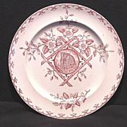 "SALE Stunning Old Red Aesthetic Transferware Plate with Water Wheel Scene ~ ""Alaska"" patte"