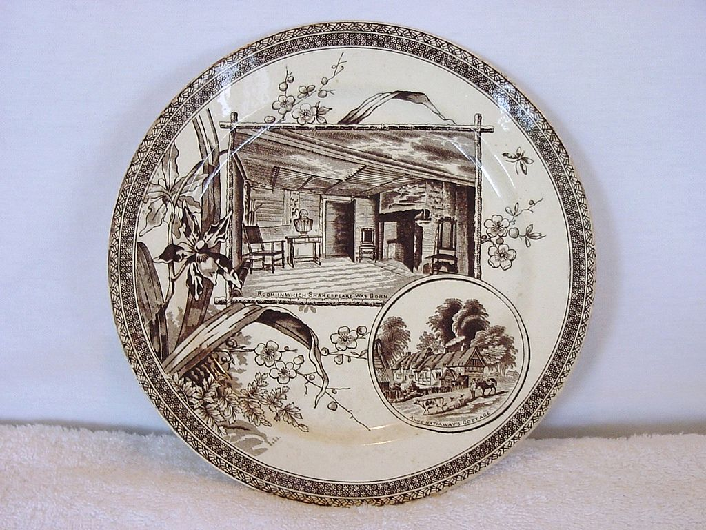 Awesome Earthenware Plate ~ Brown Transferware ~ Shakespeare & Hathaway ~ Wallis Gimson & Co  1884-1890