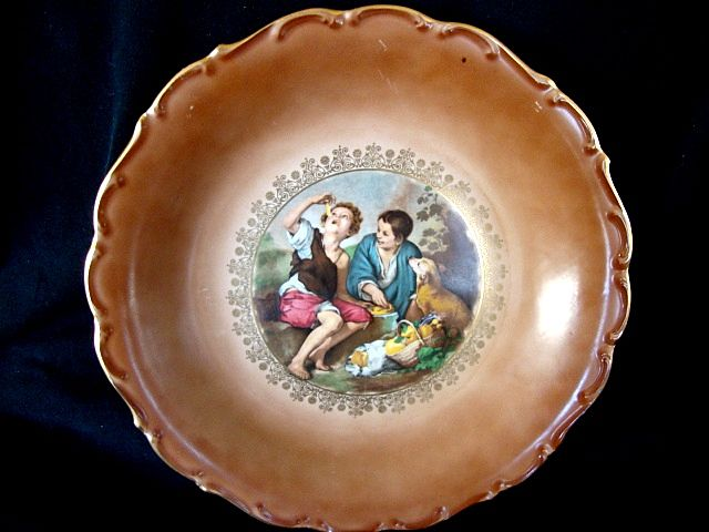 """Nice 11 ¼"""" Bavarian / German Porcelain Wall Charger ~ Rendition of the Melon  or Dice Boys ~ CARL SCHUMANN Bavaria / Germany 1960-1970"""