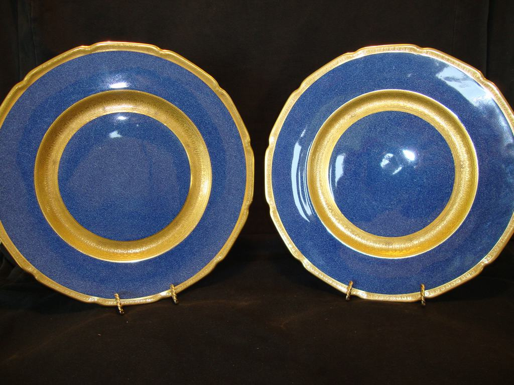 """2~Beautiful Royal Doulton 10 1/2"""" Plates Deep Midnight Blue Gold Embossed ~ Pattern H2007 ~ Royal Doulton England 1924"""