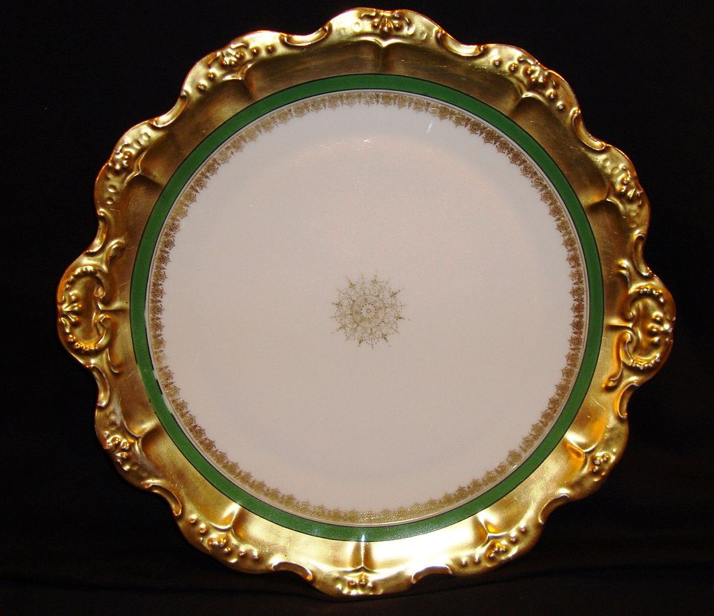 """Wonderful Limoges Porcelain 12"""" Charger  ~ Gold Rococo rim with Green Band & Snowflake Medallion ~ Coiffe / Blakeman & Henderson ( B & H )1891-1914"""