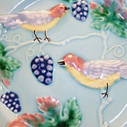 "Awesome 8 1/2"" German Majolica Plate ~ Decorated with Birds, Grapes & Vines ~ Made in Germany 1914 -1930's"