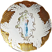SALE Exquisite English Soft Porcelain Cabinet Plate ~ Hand Painted with a Beautiful Woman ~ En