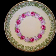 Delightful Little German Porcelain Plate ~ Hand Painted with White and Red Roses ~ Artist Signed ~ TETTAU PORCELAIN FACTORY (ROYAL BAYREUTH) (Germany) - ca 1902 - ca 1930s