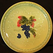 "Wonderful 12"" German Majolica Plate Hand Painted with Deep Purple Grape Motif ~ ZELL United Ceramic Factories - GEORG SCHMIDER (Baden Germany) - ca 1907 – 1928"