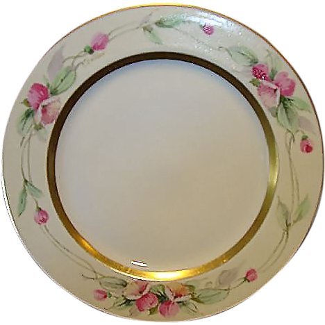 """Beautiful Limoges Porcelain Plate ~ Hand Painted with Pink Flowers by Pickard Artist """"Challinor"""" ~ Haviland France / Pickard Studios Chicago IL 1905-1910"""