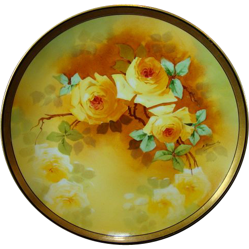 Masterpiece by 'A. Bronsillion ' ~ Limoges Porcelain Plate ~ Hand Painted with Yellow Roses ~ Signed ~ PM Mavaleix / Coronet 1908-1920