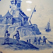 Nice French Faience Cabinet Plate ~ With Fishing Scene ~ HAUTIN & BOULANGER (or BOULENGER) (Choisy-le-Roi, France) - ca 1890 - ca 1930s