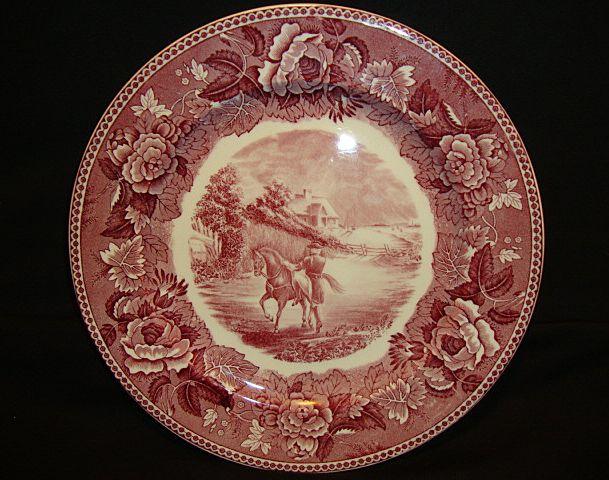 Wedgwood Longfellow Series Paul Revere Cabinet Plate ~ Red & White Transferware ~ Wedgwood Barlaston Stoke-on-Trent England 1895-1910