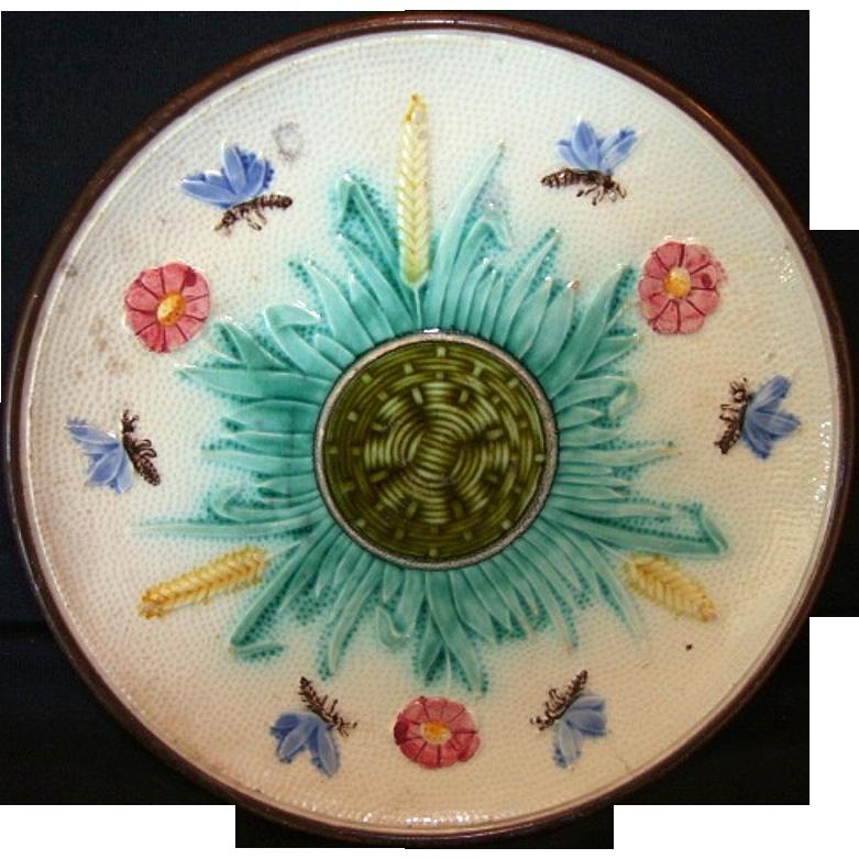 Unique Majolica Cabinet Plate ~ Design of Basketweave, Butterflies & Flowers ~ unattributed