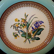 SALE Gorgeous 159 Yr Old English Porcelain Plate with Robin Egg Blue Rim and Royal Blue and Ye