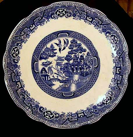 Holland Blue Willow 13'' Chop Plate / Platter- Petrus Regout - Maastricht Holland - 1890-1899